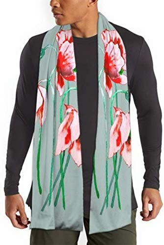 Mens And Women Winter Fashion Scarf Poppy Watercolor Illustration Pattern Long Plain Warm Soft Scarves For MenCotton Scarves For Winter 71inx 11