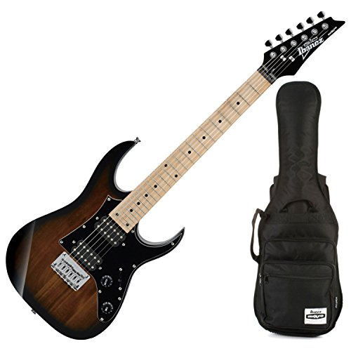 Ibanez Grgm21mwns Mikro 3 4 Size Walnut Sunburst Mini Electric Guitar W  Gig Bag