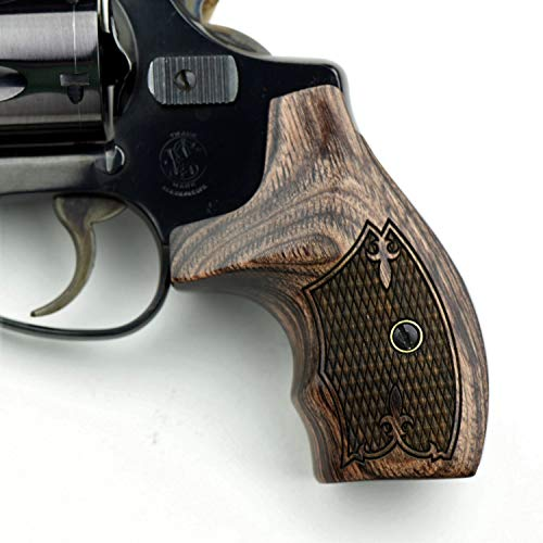 Altamont - S&W J Round Revolver Grips - Boot - Real Wood Gun Grips fit Smith & Wesson J Frame Round Butt .38 Special and 9mm Revolvers - Made in USA - Walnut - Fleur (Best Grips For S&w 442)