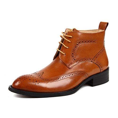 Herren Lederschuhe Herren Lederschuhe High-Top-Schuhe Business-Short Martin Stiefel wies Spitze britischen Stil Herrenschuhe ( Farbe : Red-brown , größe : EU 41/UK7 ) Brown Yellow