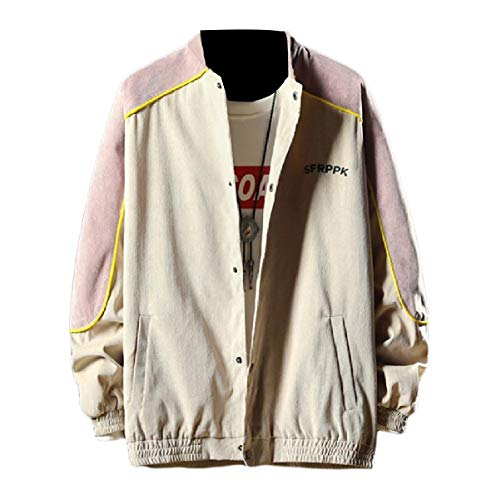 MogogoMen Juniors Casual Autumn Loose Fit Splice Vogue Bomber Jacket Khaki