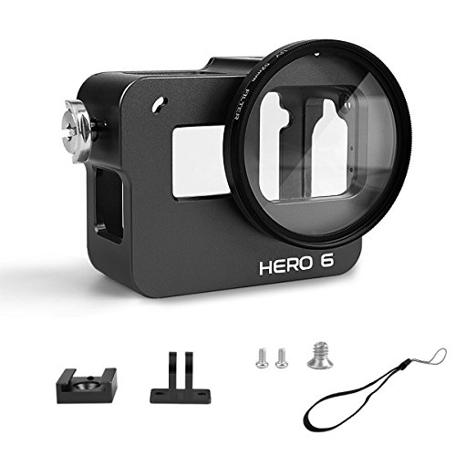 Luxebell Aluminium Alloy Skeleton Thick Solid Protective Case Shell with 52mm Uv Filter for Gopro Hero 7 6 5 Black, Silver Camera - Wide Angle Mode Have No Vignetting Black