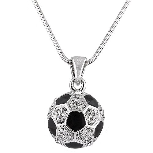 JOTW Silvertone with Black & White Iced Out Soccer Ball Pendant with an 18 Inch Snake Necklace (B-356)