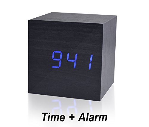 Beautys 101 Wooden Digital Alarm Clock- Premium Multifunction Electronic LED Digital Alarm Clock For Bedroom, Kids' Room & Travel- Modern, Stylish & Reliable Alarm Clock (Blue Light - Black Wood) by Beautys 101 (Image #2)