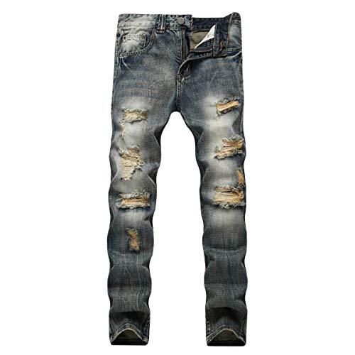 Da Uomo Giovane Media Vita Dritti Strappati Denim Pantaloni Jeans A E Con Attillati Blu 5SqRwRAnxC