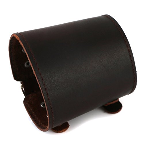 HZMAN Men's Brown Leather Cuff Bracelet, Leather Wrist Band Wristband Handcrafted Jewelry (Rock Bands Bracelets)