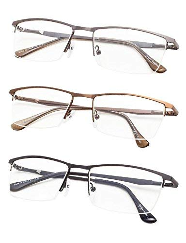 High Quality Half-Rim Reading Glasses 3-Pack with Spring Hinges