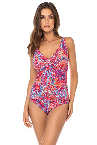 Sunsets Women's Forever Bra Sized Tankini Top Swimsuit with Hidden Underwire, Samba, 34D]()