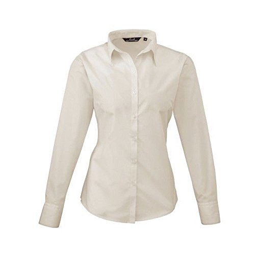 Premier Workwear Ladies Poplin Long Sleeve Blouse, Blusa para Mujer Natural