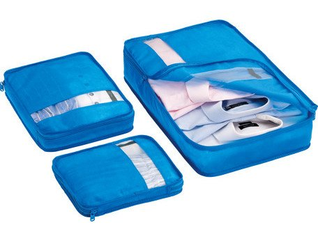 Bag Packers Tidy Case Luggage Packing Cubes Set of 3 (blue)