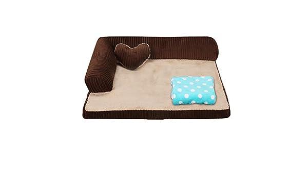 Cama perro Brwon Indestructible Dog Sofa para Perros medianos/Gatos/Mascotas, Camas perreras Lindas y duraderas para Perritos/Perritos pequeños (Tamaño : M ...