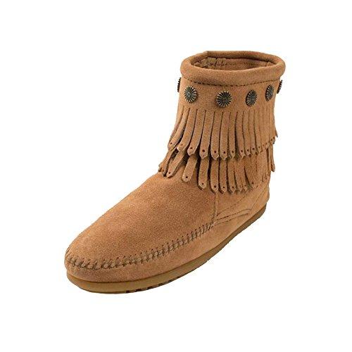 Minnetonka Damen Moccasin Double Fringe Side Zip Boot Fransen Komfort Innensohle Wildleder sehr weich bequem original, Größe:40 1/2, Farbe:tpe