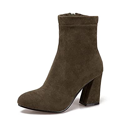 BalaMasa Womens Casual Pointed-Toe Slip-Resistant Suede Boots ABL10370 dX20GT6H