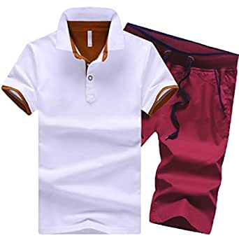 Men's Casual 2 Piece Tracksuit T-Shirts and Shorts Running Jogging Athletic Sports Suit Set 1 2XL