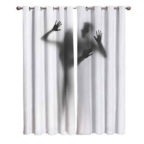 (Prironde Room Darkening Blackout Curtains for Kids Bedroom Livingroom The Sexy Shadow of Women and Men Thermal Insulated Grommet Top Drapes, 52(W) X72(H) InX2)