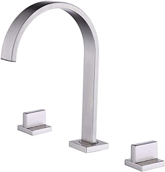KES 2-handle 8 Inch Widespread/Bathroom Sink Waterfall Faucet Lavatory Vanity Brass Faucet Lead Free with Supply Lines and Drain Assembly Oil Rubbed Bronze L4311LF-ORB KES Sanitary Ware