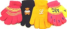 Four Pairs Magic Gloves for Infants Ages 1-3 Years One Pair with Monogram