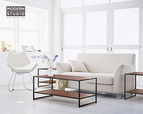 Zinus Modern Studio Collection Rectangular Coffee Table and Two Square Side Tables - 3 Pieces