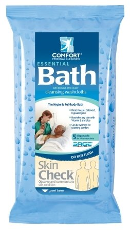 Sage Products Essential Bath Bath Wipe - 7800CS - 8 medium weight, 480 Each / Case by Sage Products Inc