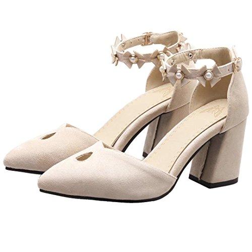 AIYOUMEI Knöchelriemchen Pumps mit Blockabsatz und Riemchen High Heel Schuhe mit Blumen Aprikose
