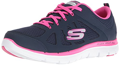 Skechers Sport Women's Flex Appeal Simplistic Sneaker, Navy hot Pink, 8.5 M US