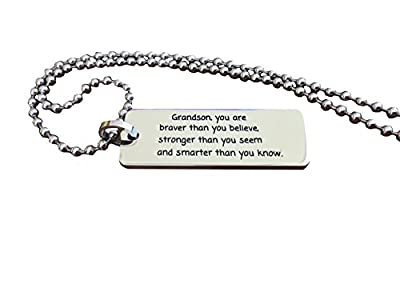 'Grandson, You Are Braver Than You Believe...' Inspiring Necklace Pendant Grandson Gift