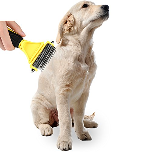 CU QUAN Pet Grooming Tool, 2 Sided Undercoat Rake, Easy Mats & Tangles Removing, Safe Dematting Comb Perfect for Dogs & Cats (Yellow) by CU QUAN (Image #5)