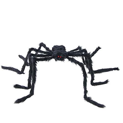Tepoinn Giant Spider Holiday Decoration 4.9FT/150CM Halloween Decorations Foldable Spider Best Halloween Decoration(Black)