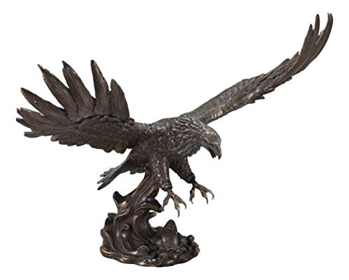 (Ebros Faux Bronze Large Swooping Eagle with Talons Out Catching Prey Statue 19