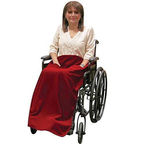 Wheelchair Blanket with Pockets - Non-Slip - Burgundy by Reizen