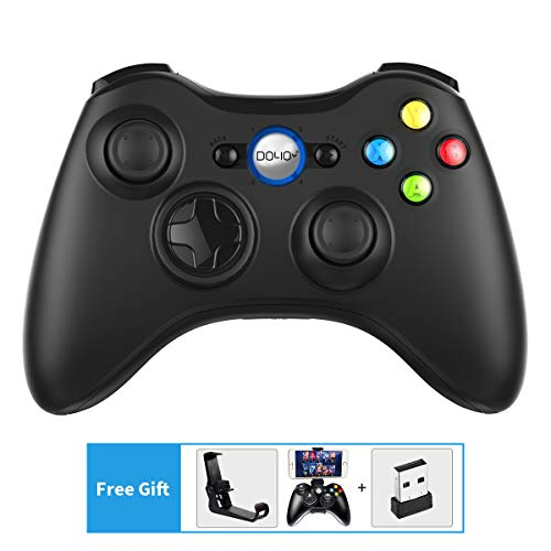 DOYO Wireless Game Controller Pad Gaming Joystick Dual Vibration Gamepads with Fire Trigger Buttons and Foldable Mobile Phone Holder for PC/PS3/X Input/D Input/TV Box/Android Phones/Raspberry Pi