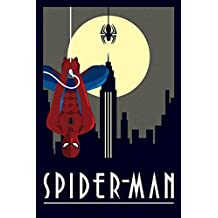 Posters: Spider-Man Poster - Hanging Upside Down, Marvel Comics, Art Deco (36 x 24 inches)