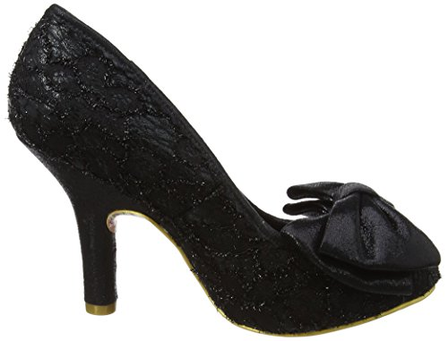 Irregular Choice Mal E Bow Womens Black Textured High Heel Court Shoe Pump Black Textured nPIIW41S