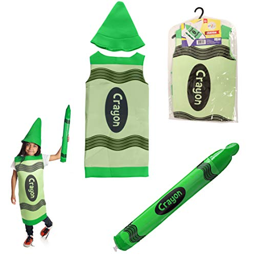 Dress 2 Play Crayon Pretend Costume, Dress up Set with Hat and Blow up Crayon]()