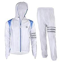 ROCKBROS Cycling Rain Suits Hooded Jacket and Pants Reflective Strips 100% rainproof