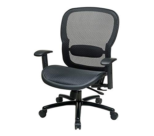 Spаcе Sеаting Big and Tall Mesh Back and Seat, 2-to-1 Synchro Tilt Control Adjustable Arms and Lumbar Support with Black Base Managers Chair ()