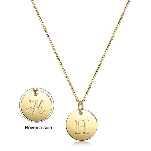 JINBAOYING Initial Necklace, 14K Gold-Plated Letter Necklace Round Disc Double Side Engraved Hammered Name Necklace with Adjustable Personalized Alphabet Letter Pendant ()