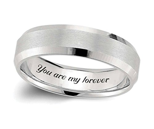 Personalized Men's Brushed Center with Beveled Mirror Edge Ring Custom Engraved Free