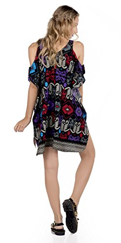 Wear Cover Schnitt Kaftan Grau handgefertigt Up Kleid Beachwear Bikini Beach Bademode Damen 0YS1Bx