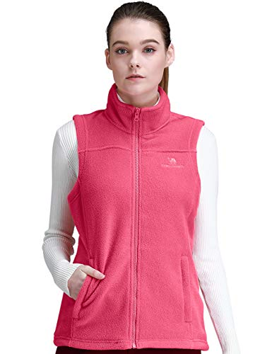 (CAMEL CROWN Fleece Vest Men Women Full-Zip Sleeveless Jacket Plus Size with Pocket Lightweight Casual Gilet(Coral,XX-Large))