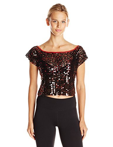 Gia-Mia Dance Women's Sequin Cropped Tee Dance Jazz Hip Hop Costume Performance Team, Red, M - Jazz Hip Hop Dance Costumes