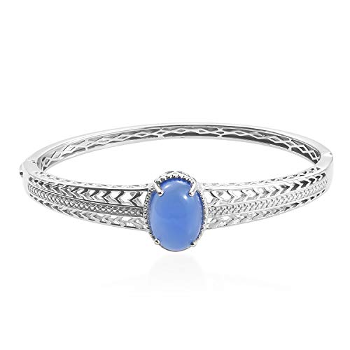Shop LC Delivering Joy Oval Dyed Blue Agate Fashion Bangle for Women 8""