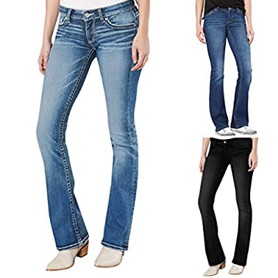 Excursion Clothing Women Mid Waist Modern Bootcut Jeans Skinny Denim Stretch Slim Button Pants with Pocket