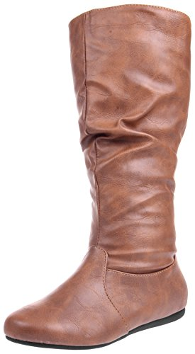 Enimay Women's Winter Fashion High Mid Calf Leather Slouchy Flat Casual Dress Boot Tan 6