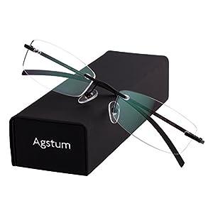 Agstum Pure Titanium Rimless Glasses Prescription Eyeglasses Rx