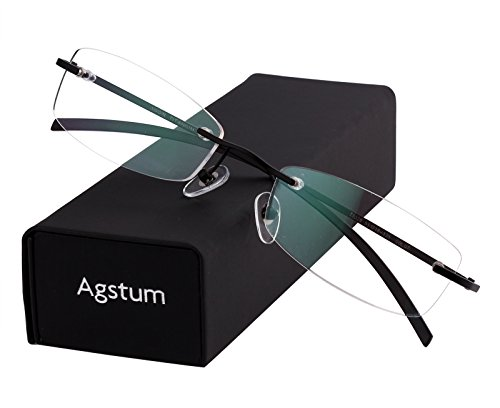 - Agstum Pure Titanium Rimless Glasses Prescription Eyeglasses Rx (Black, 53)