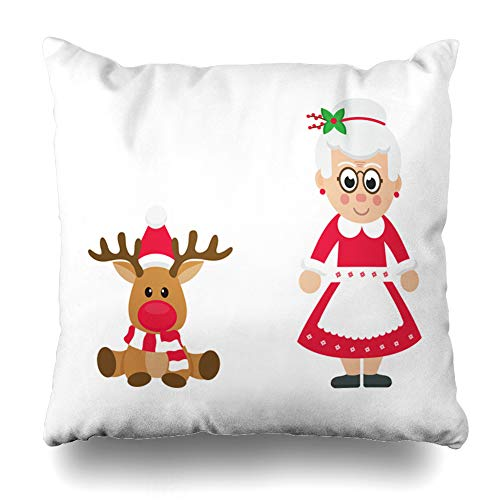 LALILO Throw Pillow Covers Cartoon Christmas Deer with Mrs Santa Mrs Christmas Grandma Reindeer Double-Sided Pattern for Sofa Cushion Cover Couch Decoration Home Bed Pillowcase 18x18 inch ()
