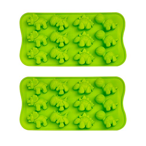 Webake Dinosaur Chocolate Mold 2 pack Silicone Candy Molds, Soap Mold, Jelly Mold,Caramel Molds 12 Cavity - BPA Free, Dishwasher Safe -