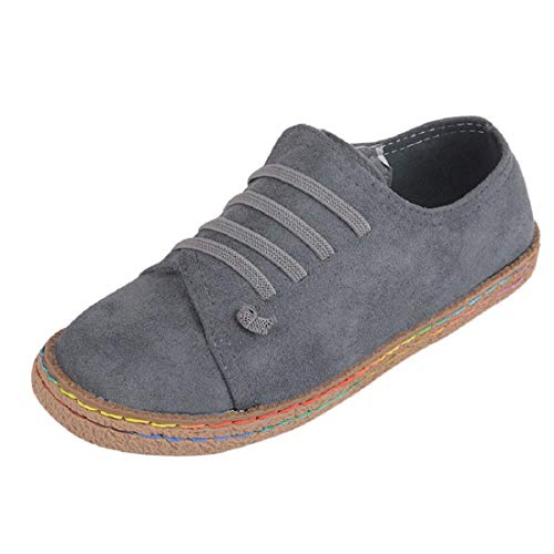 Yesmile Zapatos de mujer❤️Zapatos Planos de Mujer de Las señoras Suaves del Tobillo Zapatos de Mujer de Las Botas de Gamuza con Cordones de Cuero