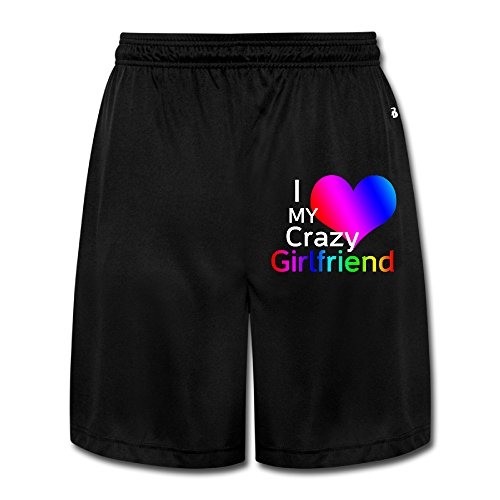 YQUE56 Men's I Love My Crazy Girlfriend Shorts Running Pants Color Black Size L